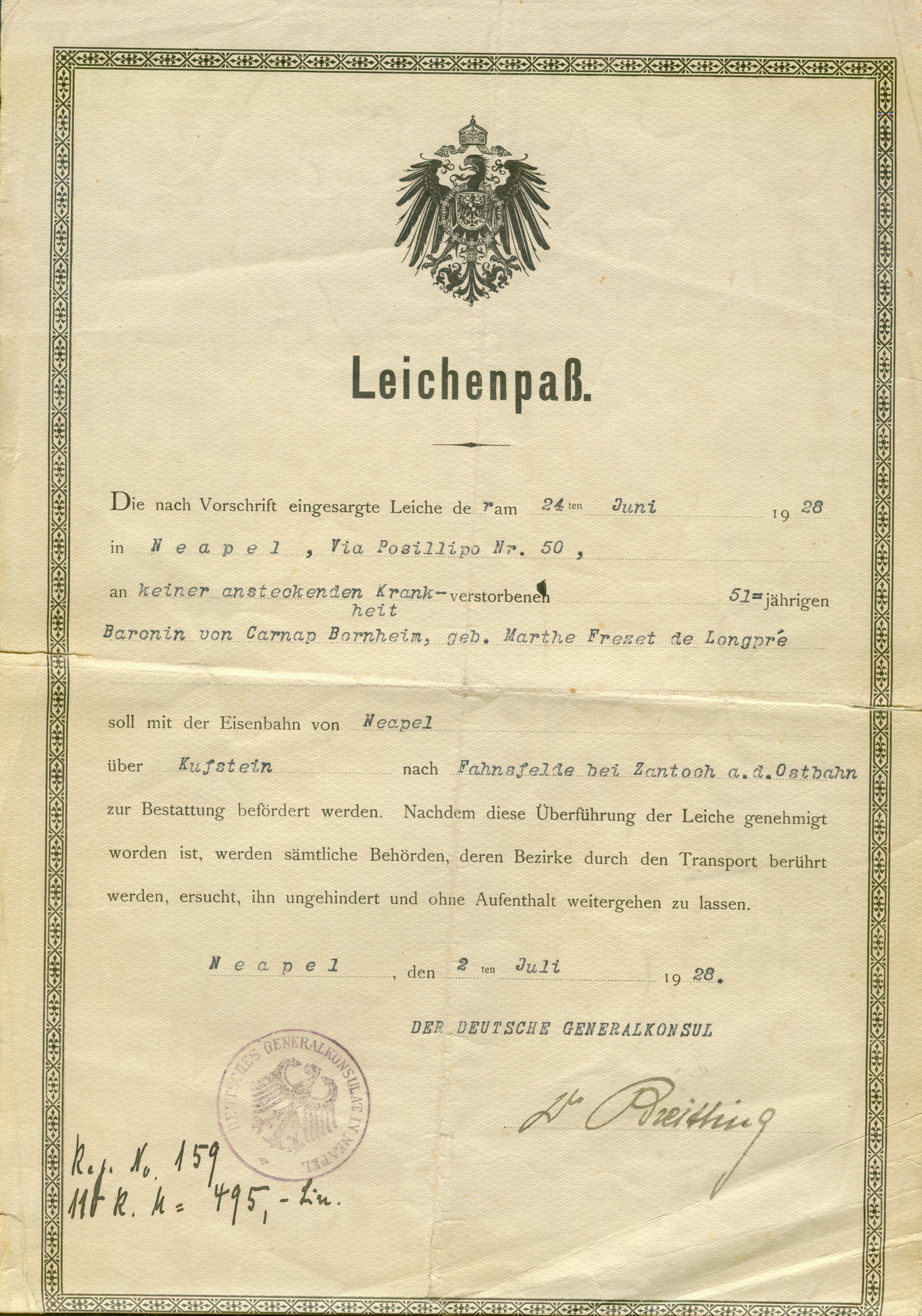 Janczewo-paszport przewiezienia zwłok