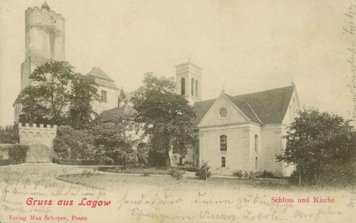 Łagow- zamek, kosciol i brama polska