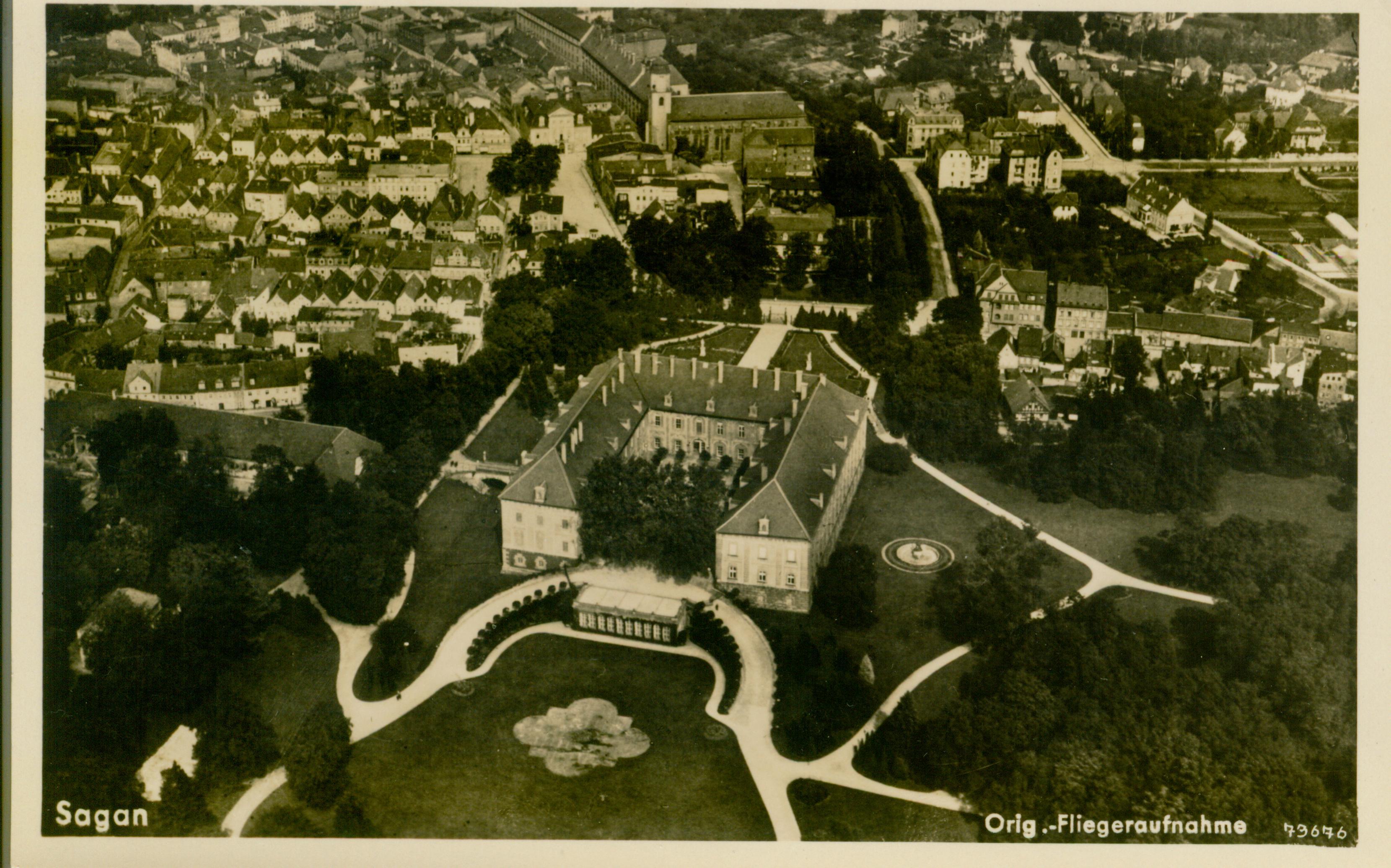 Żagań- widok pałacu z lotu ptaka 1