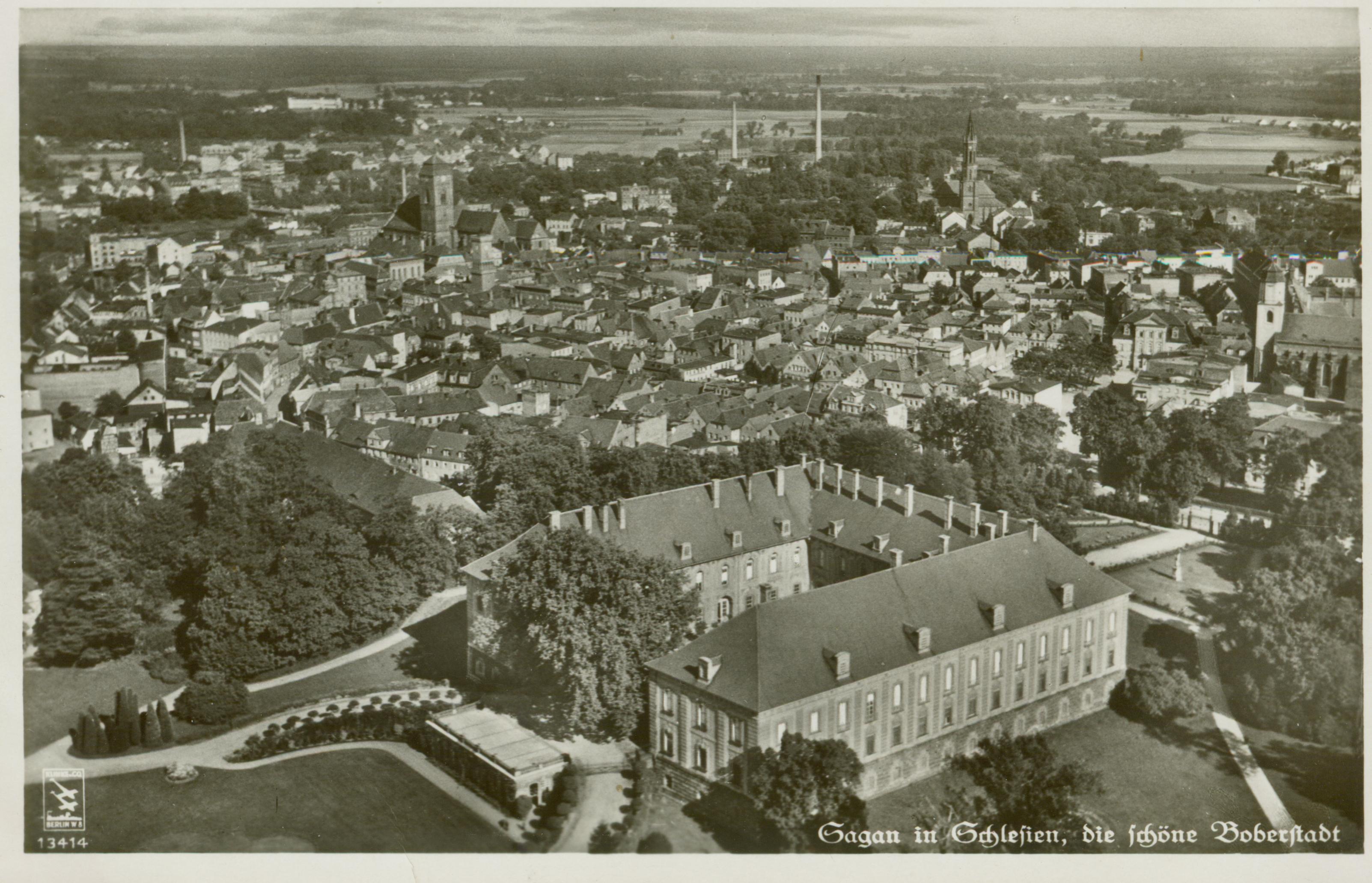 Żagań- widok pałacu z lotu ptaka