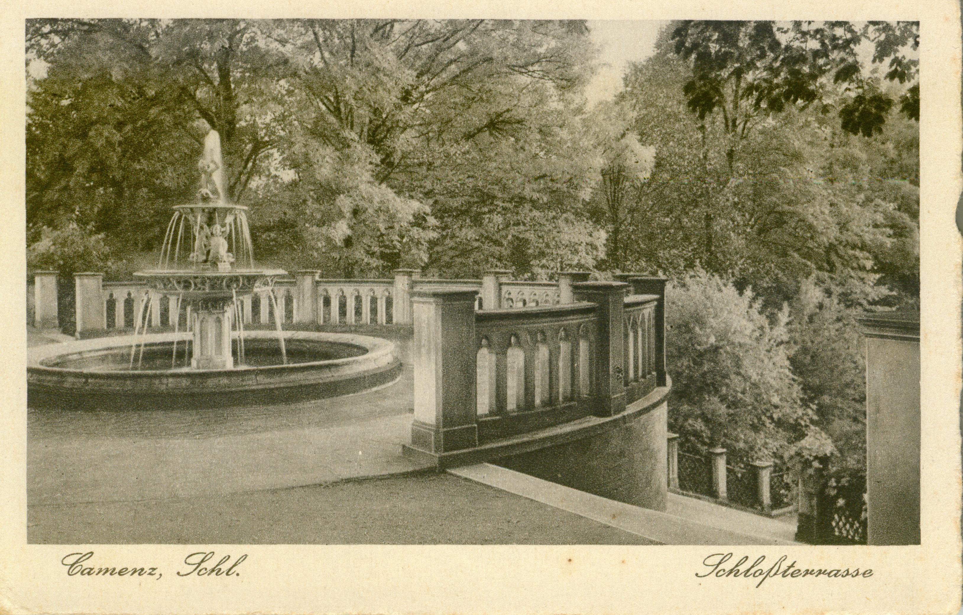 Kamieniec Ząbkowicki- fontanna w parku, dolnośląskie